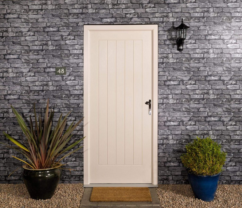 White timber door