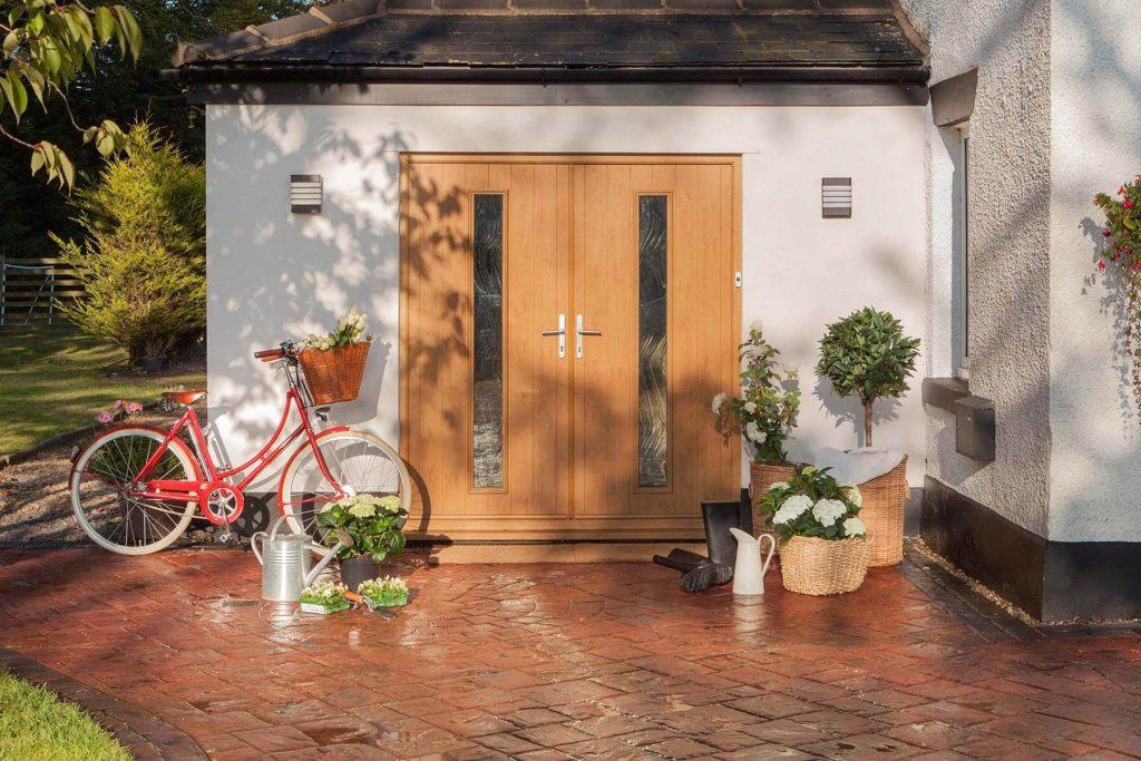 Brown double back door