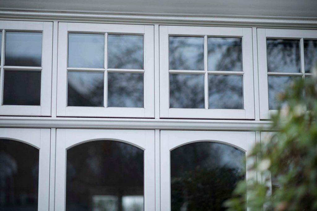 White timber windows