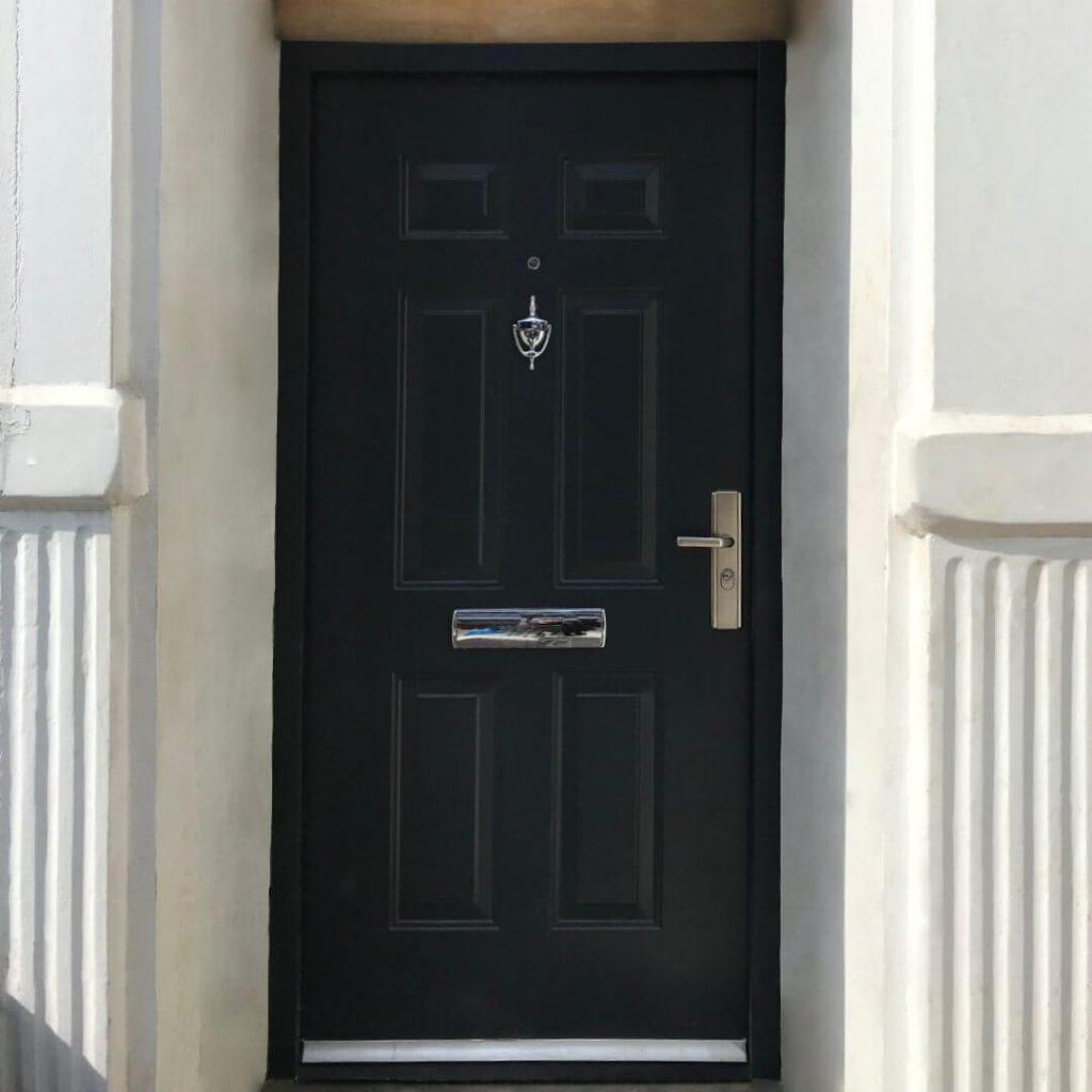 Black steel front door