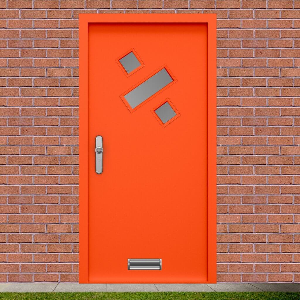 Orange steel front door
