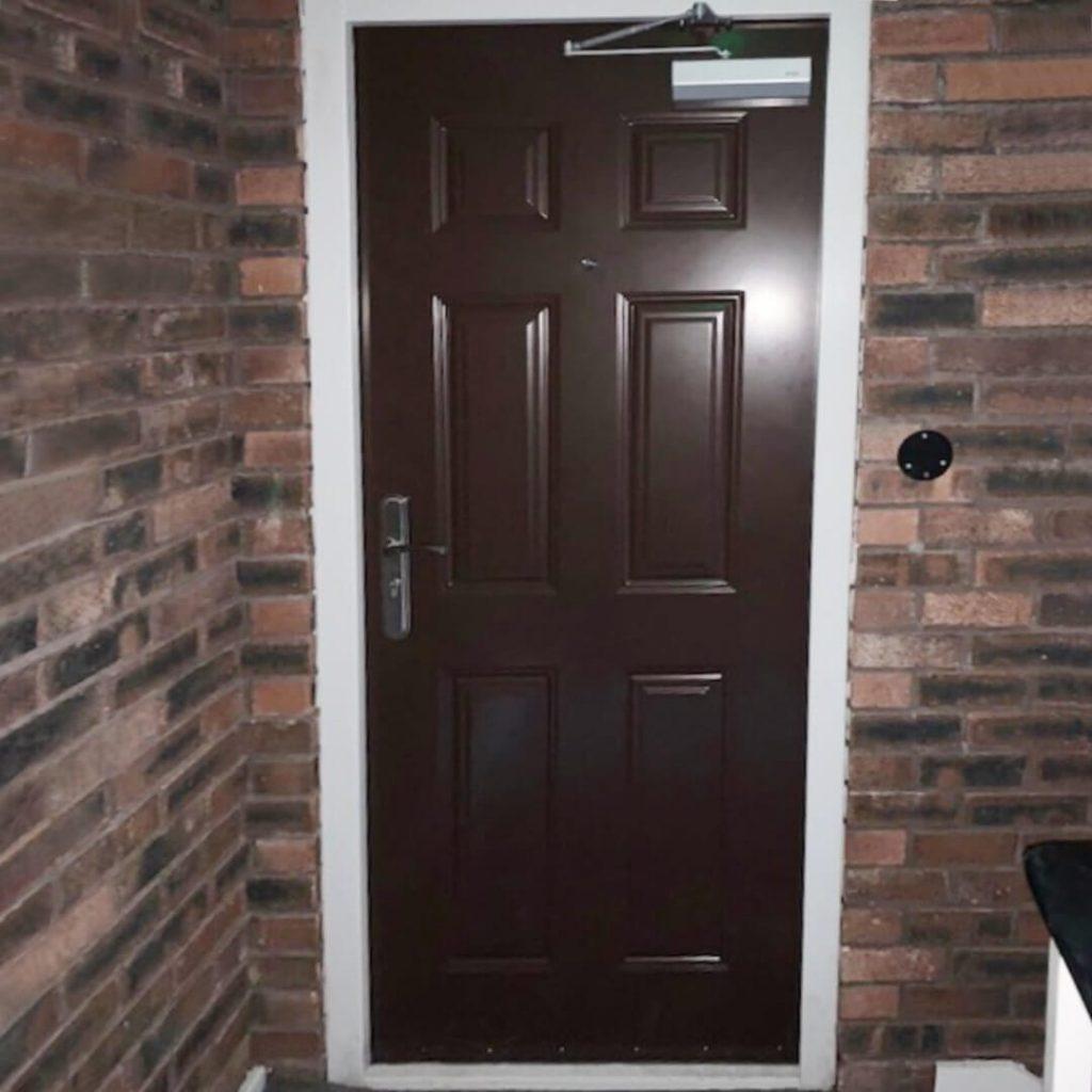 Brown steel front door
