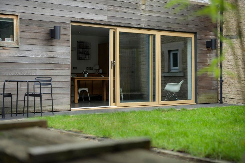 Brown patio door