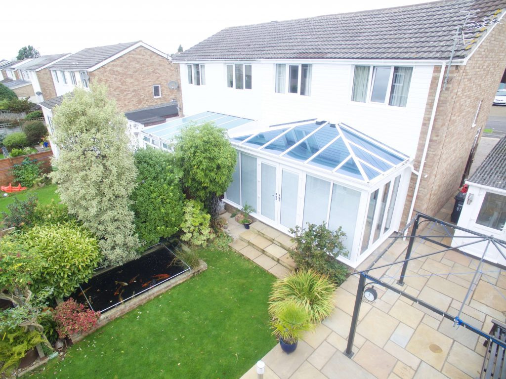 Glass conservatory drone shot