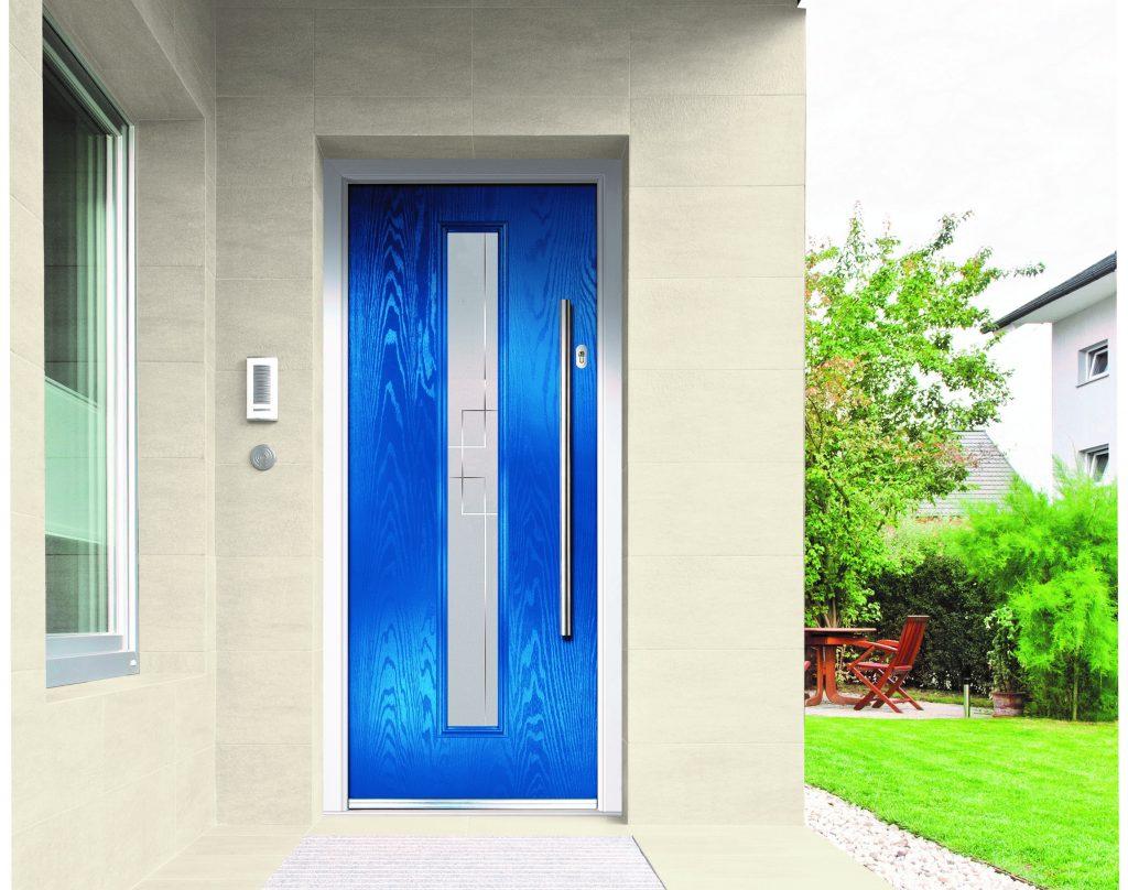 A bright blue Augusta doorco door.