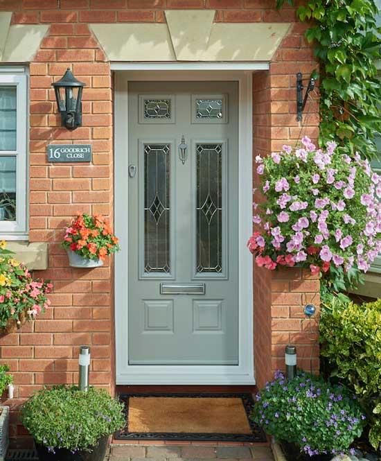 A green front door at 16 Goodrich Close