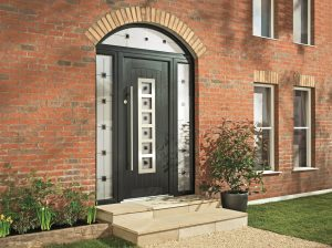 Black arched Apeer composite door