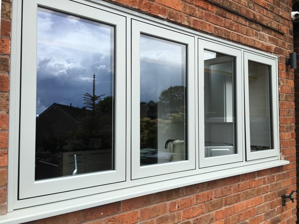 Agate grey on white infinity flush sash windows full house