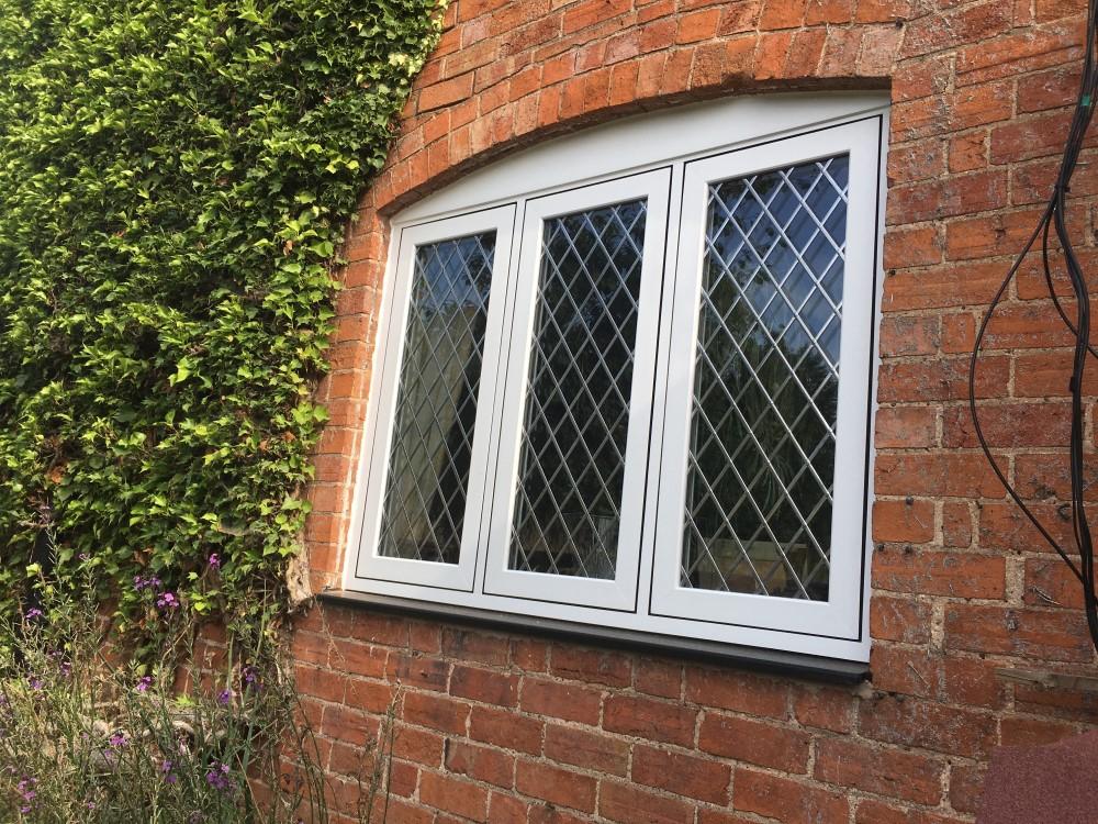 White flush sash window